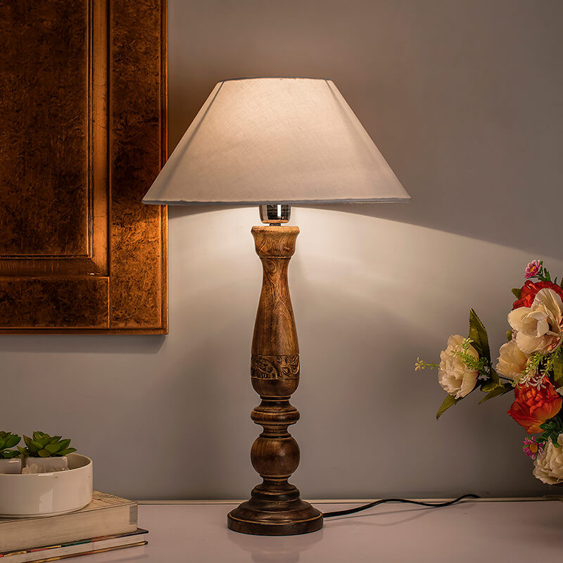 Floral Carved Black Wood Table Lamp With White Cone Shade
