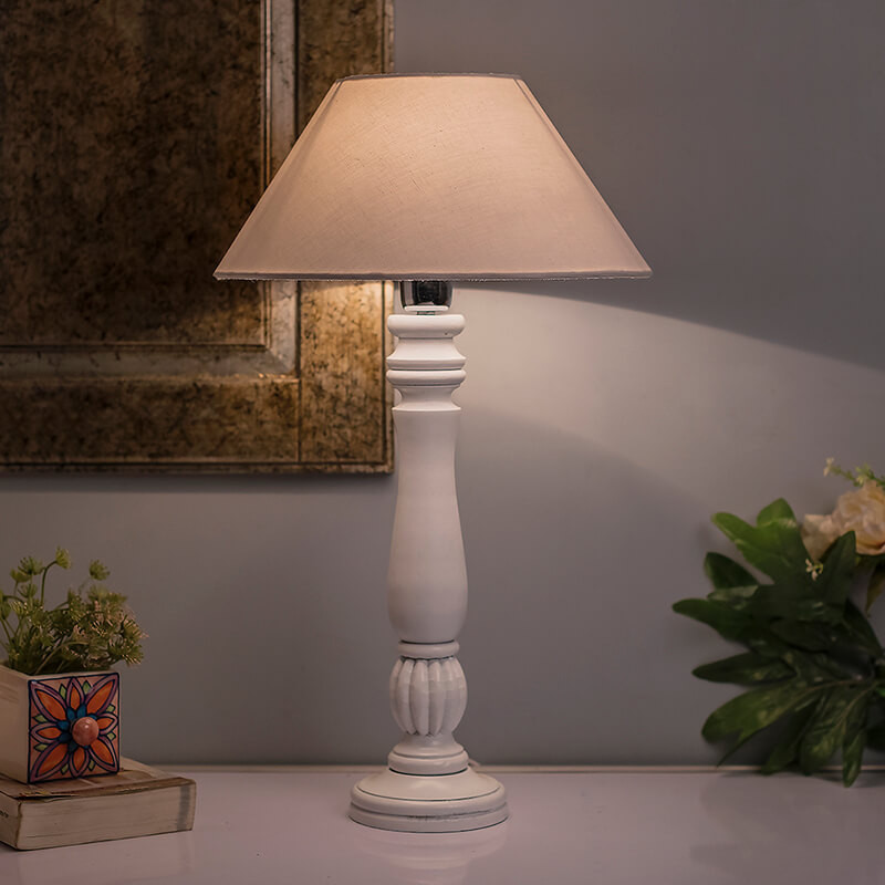 Classic Victorian White Wood Table Lamp With White Shade