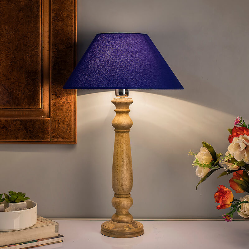 Mabel Rustic Wood Table Lamp With Blue Shade