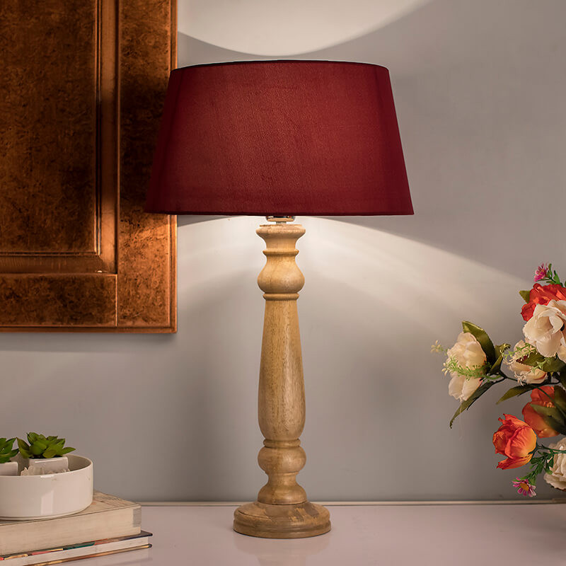 Mabel Rustic Wood Table Lamp With Red Shade