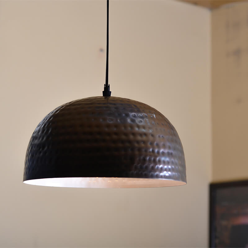 "Antique Copper Hammered Pendant, Hanging Lamp, 10"""