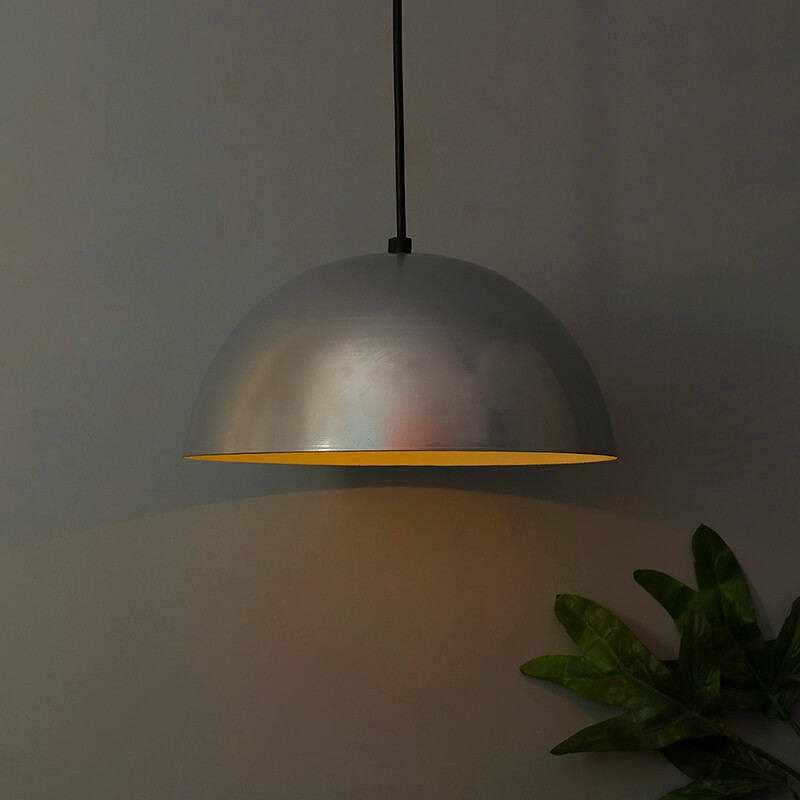 """Metallic Silver Pendant Hanging Light, Hanging Lamp 10"""""""