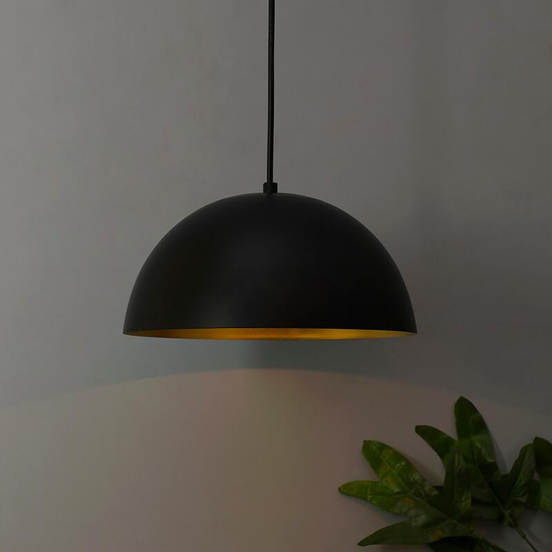 """Metallic Black Pendant Hanging Light, Hanging Lamp 10"""""""