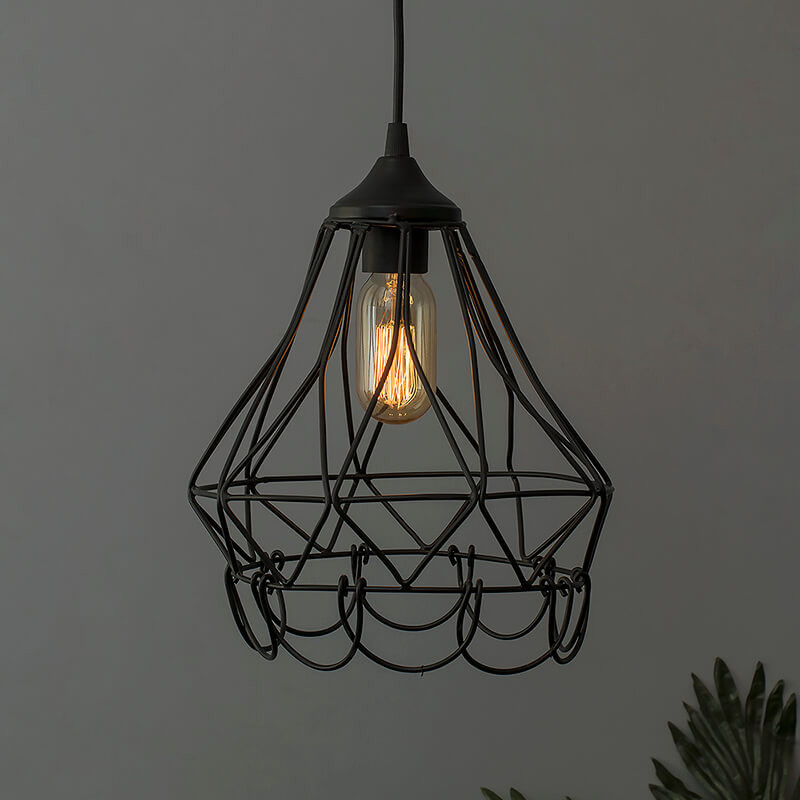 Hanging Black Steel Diamond Pendant, Foldable Bottom