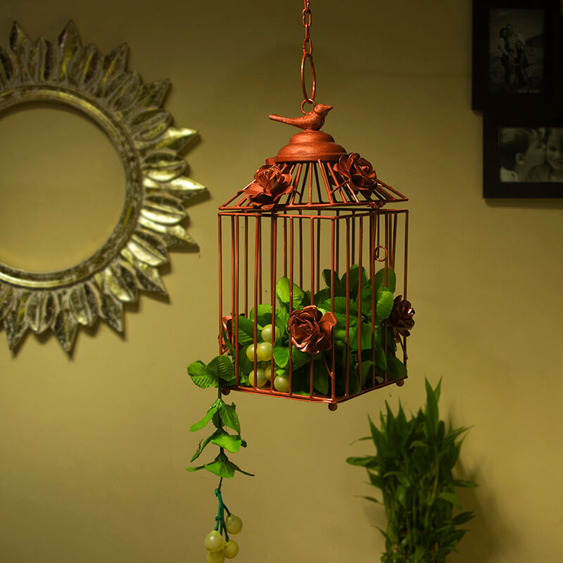 Decorative Hanging Bird Cage, Balcony/Patio Planter Cage/Hanging Candle Holder, Copper