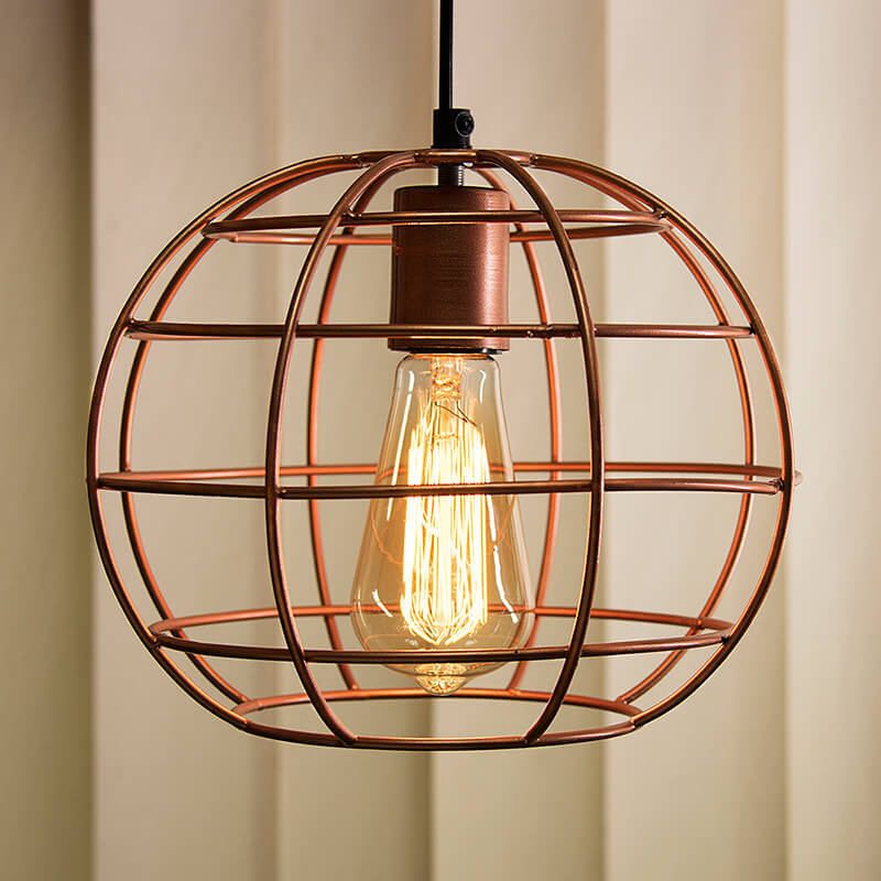 Copper Edison Filament Hanging Classic Sphere, E27 Hanging Ceiling Light For LED/Filament Bulb, Decorative Urban Retro Lighting