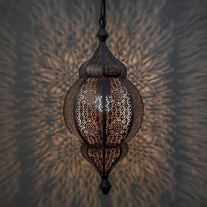 Classic Moroccan Orb Hanging Lamp, Antique Copper Hanging Pendant Light