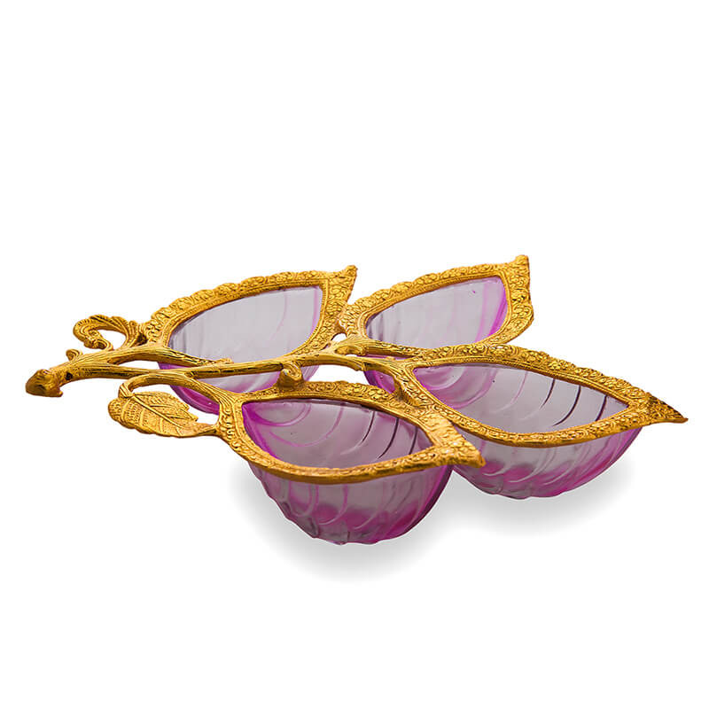 Golden 4 Leaf Glass & Metal Serving Tray, Pink