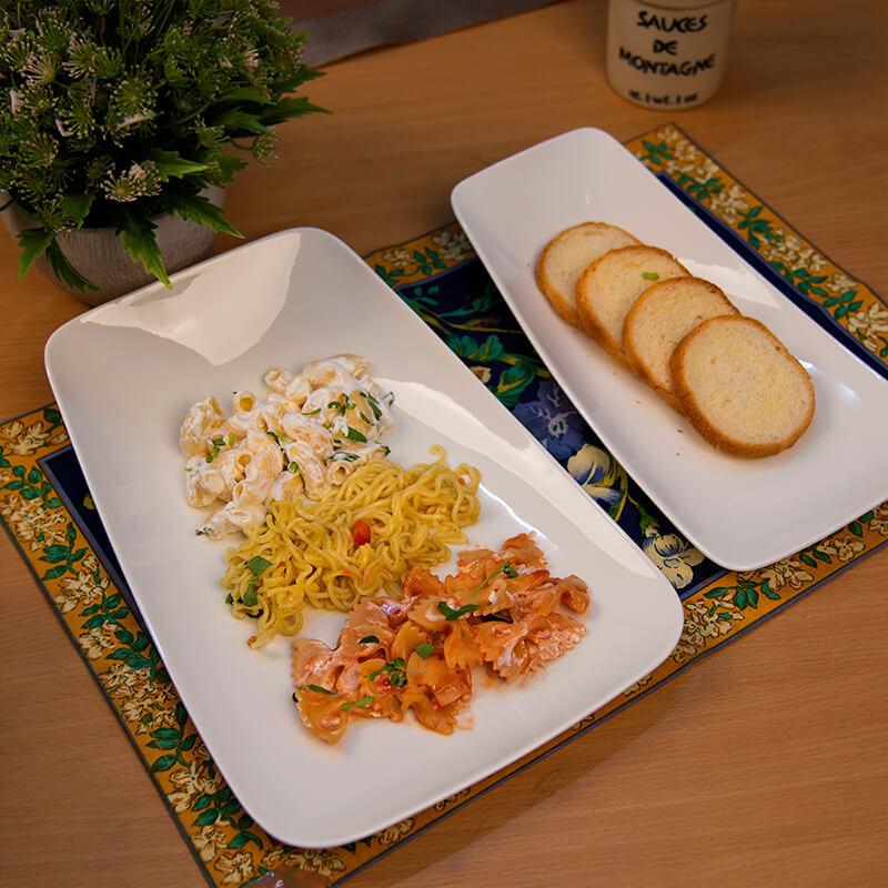 White Fine Porcelain Serving Rectangle Boat Platter, Set of 2, White Serving Tray for Chips, Nachos, Pasta