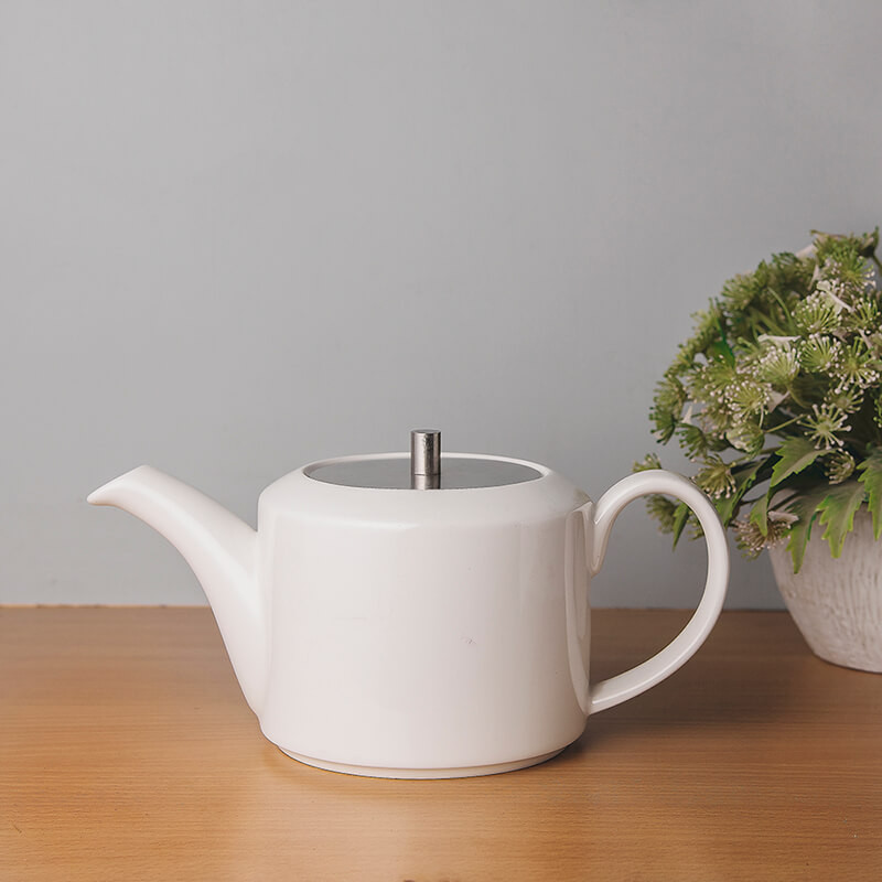 White Fine Porcelain Patches Large Tea Kettle with Steel Lid, Bone China Pot for Morning Tea, Coffee, Drink