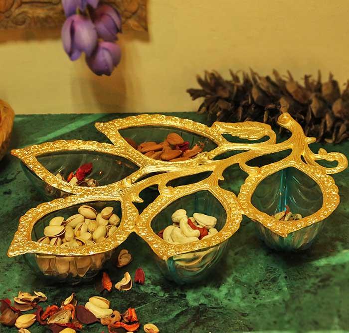 Golden 5 Leaf Glass & Metal Serving Tray, Blue
