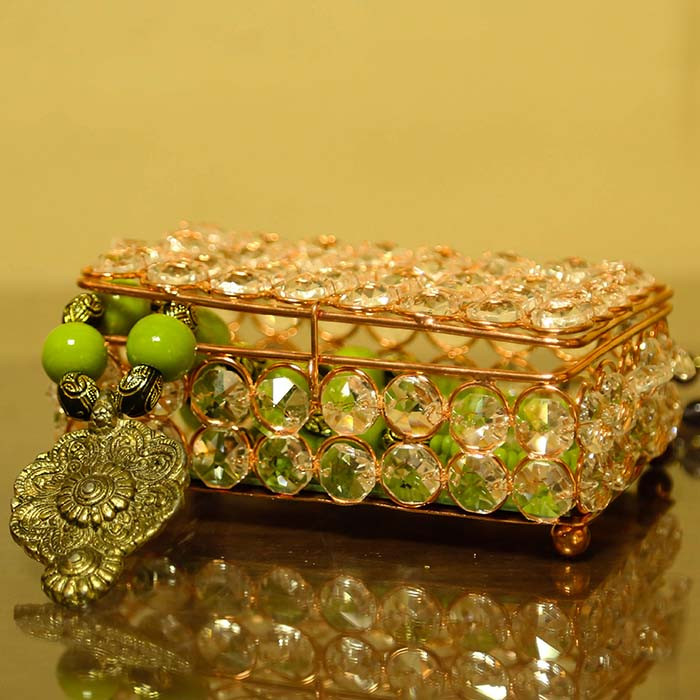 Rectangle Large Crystal Jewellery Box Copper