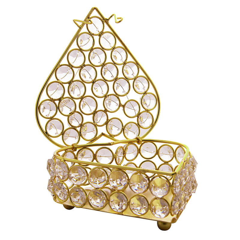 Heart Shaped Crystal Jewellery Box Gold