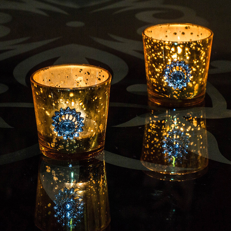 Silver Glass Votive with Jewel Brooch (Set of 2) Gold