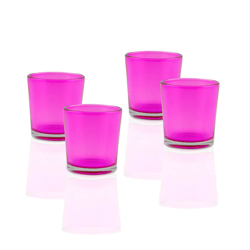 Glossy Votive Set (4 Pieces) Pink Glass Candle Holder, with T-Lights