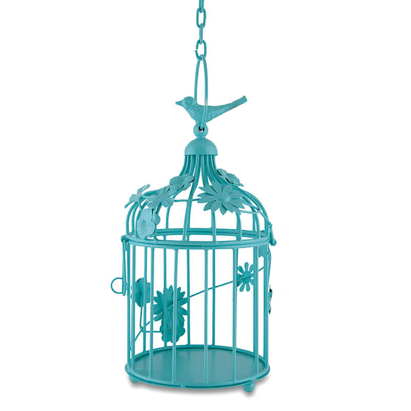 Turquoise Bird Cage with Floral Vine, with Hanging Chain: Small