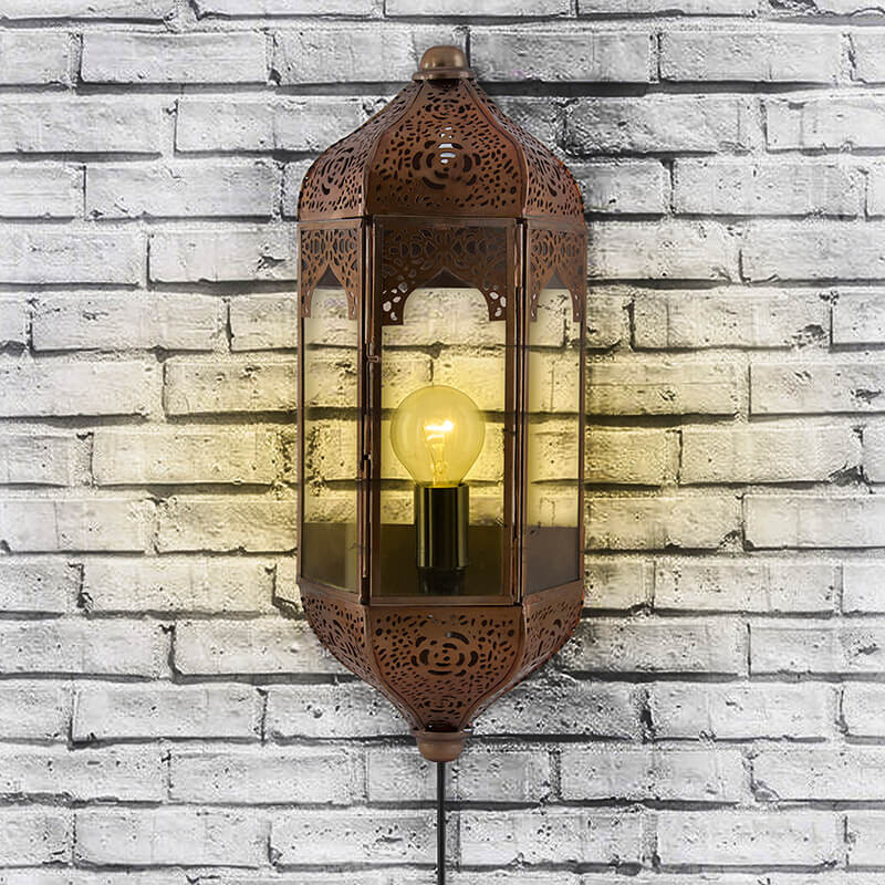 Vintage Moroccan Wall Sconce Lamp, Decorative Door Light, Antique Copper