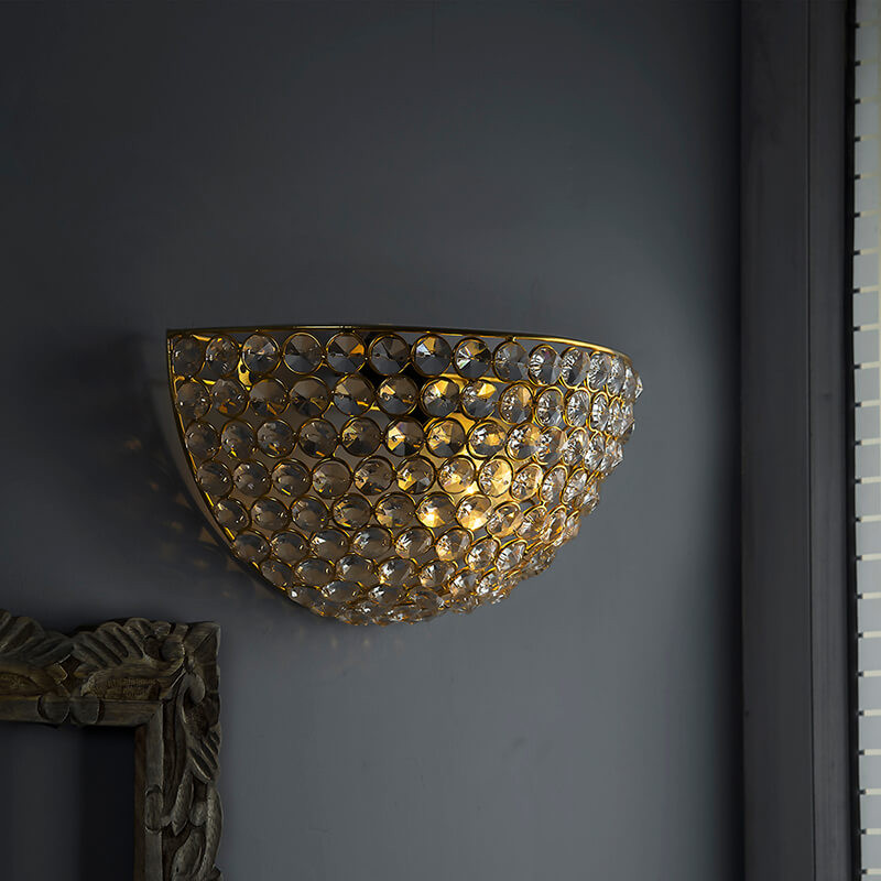 Crystal Round Wall Sconce Lamp, Decorative Door Light,Gold and Crystal