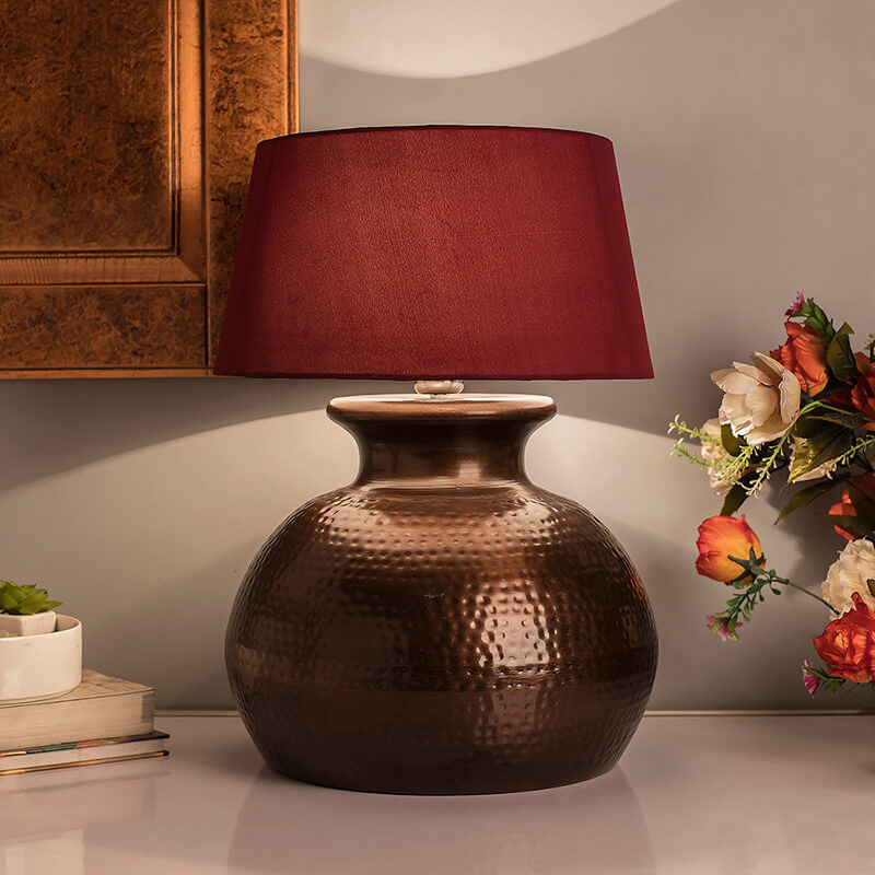 Antique Copper Hammered Pitcher Table Lamp With White