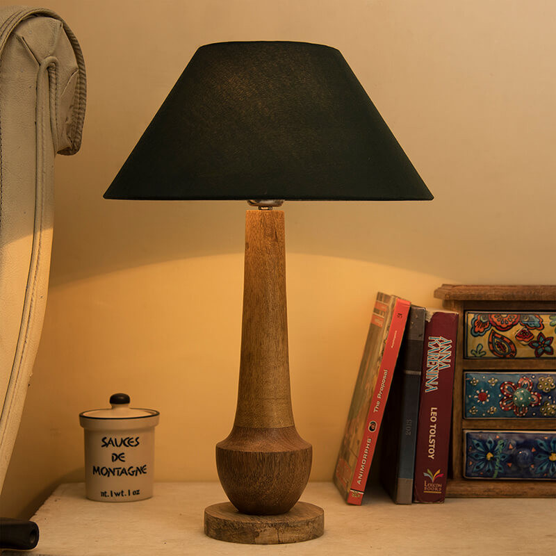 Classic Cubist Wooden Table Lamp, with Green Shade
