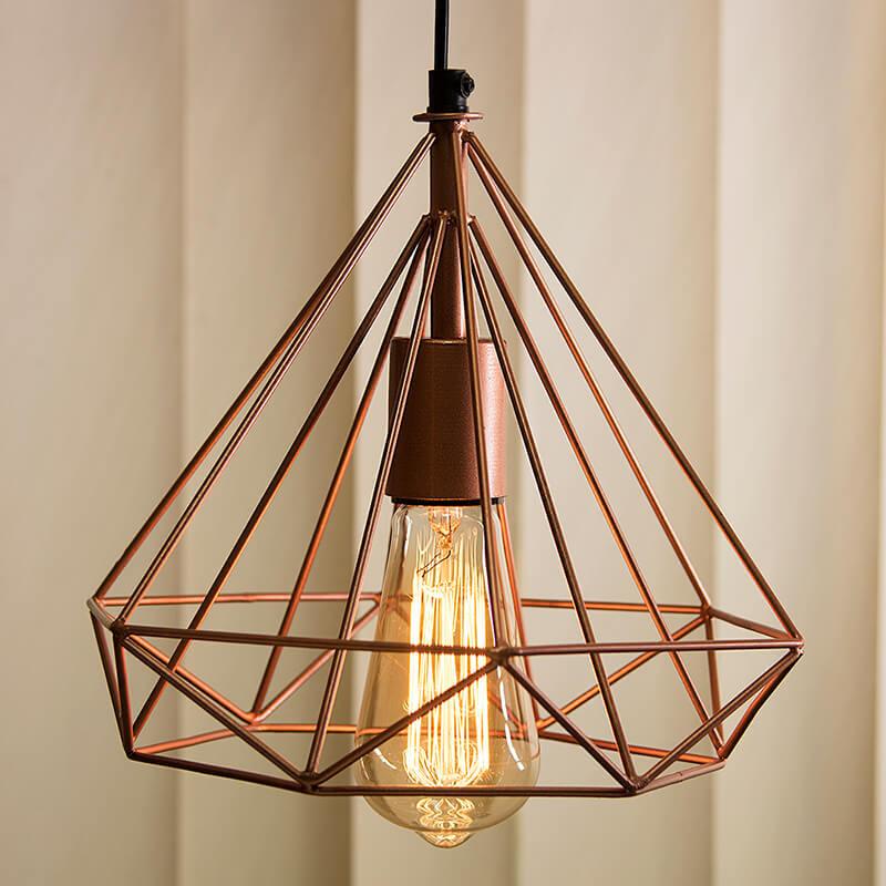 Copper Edison Filament Hanging DIAMOND Caged, E27 Holder,Ceiling Light for LED/Filament Bulb, Decorative, Urban Retro Style, Black Colour Metal