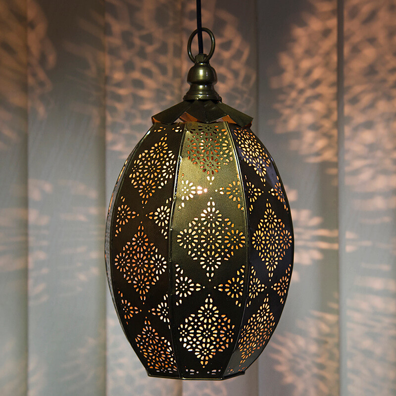 Antique Oval Moroccan Hanging Ceiling Lamp, Antique Brass Finish Hanging Pendant Light