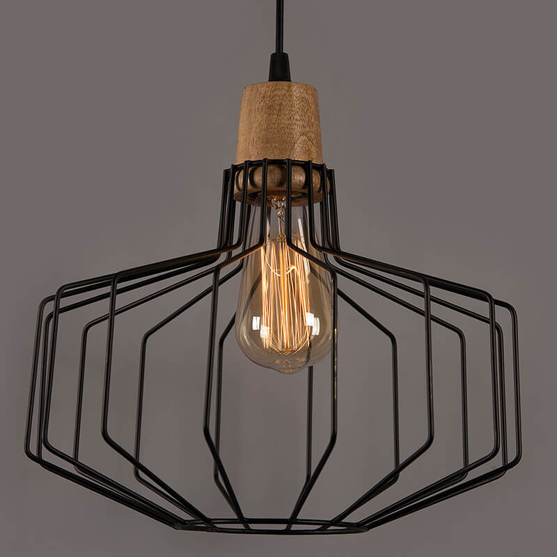 Industrial Loft Black Metal Pitcher Cage Wood Art Pendant, Hanging Ceiling Lights, Edison Vintage Light
