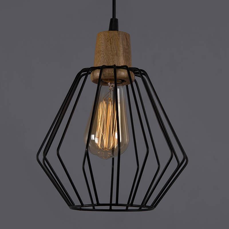 Industrial Loft Black Metal Cubist Cage Wood Art Pendant, Hanging Ceiling Lights, Edison Vintage Light
