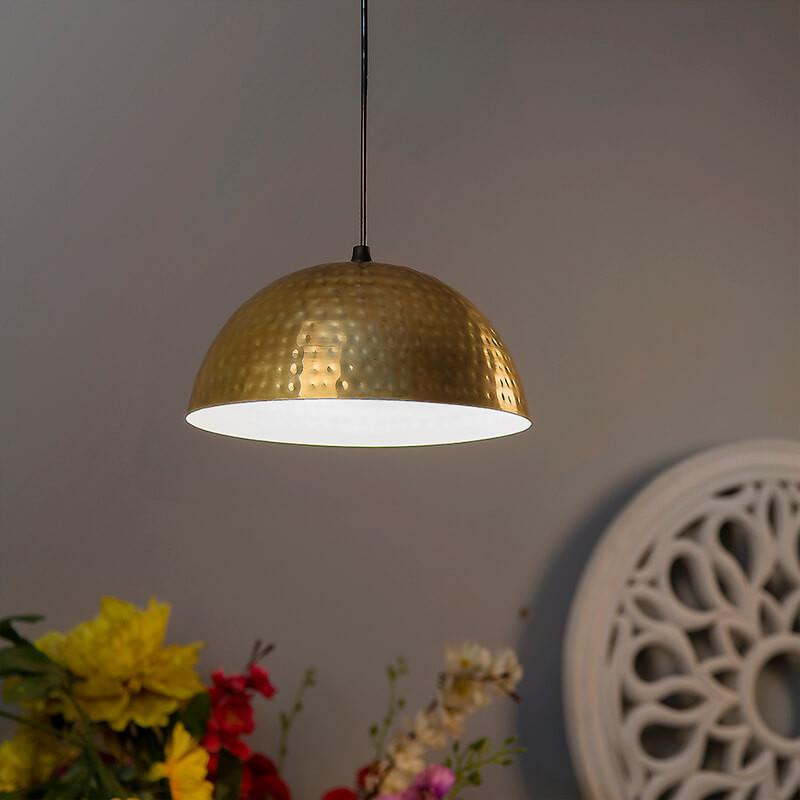 Antique Golden Hammered Pendant Light, Hanging Lights
