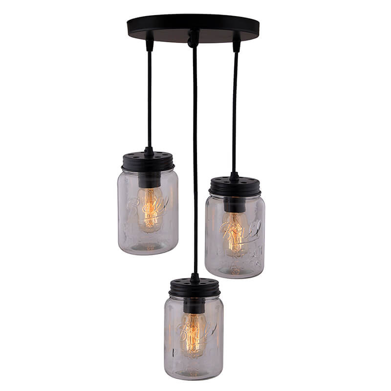 3-Lights Round Cluster Chandelier Black Mason Jar Hanging Pendant Light with Braided Cord