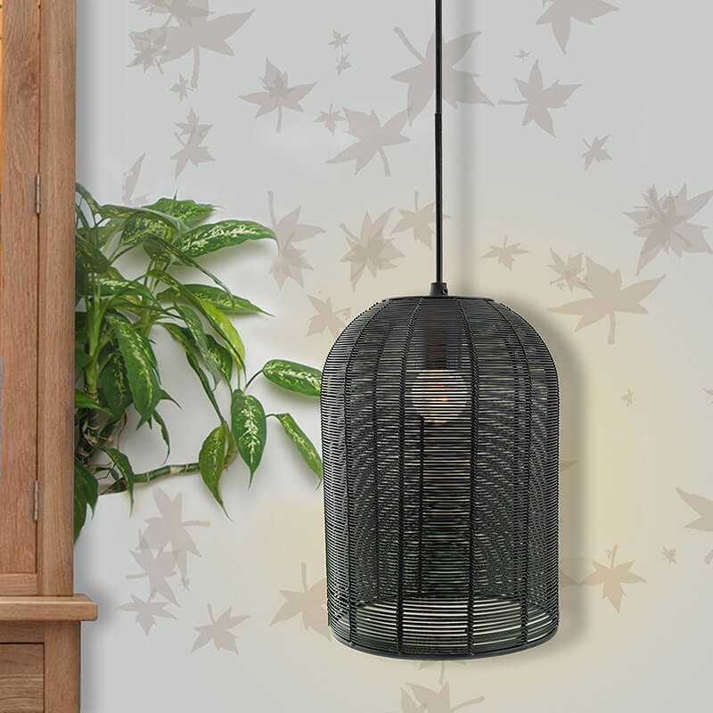 Industrial Metal Hanging Pendant Light, Wire Mesh Metal Cage, Black
