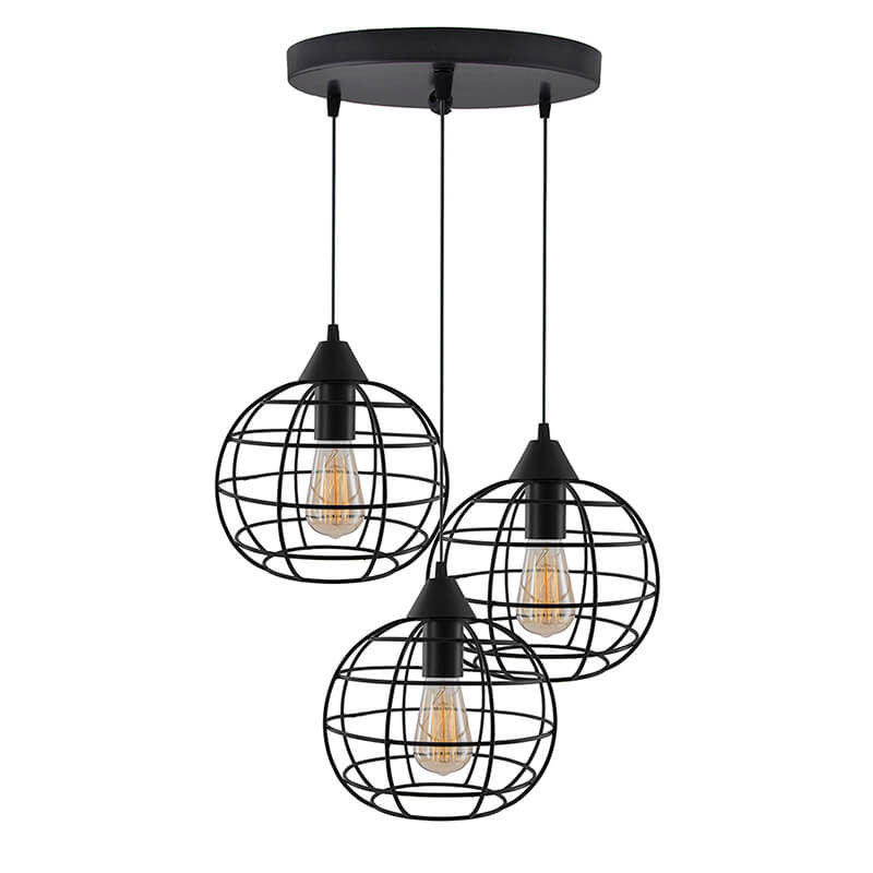 3-Lights Round Cluster Chandelier Hanging Classic Sphere Pendant Light with Braided Cord