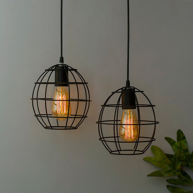E27 Ediosn Vintage Black Metal Sphere Hanging Light , Set of 2, Pendant Ceiling Light Lamp