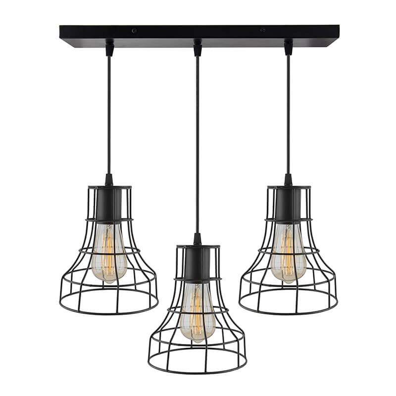 3-Lights Linear Cluster Chandelier Metal Shade Hanging Pendant Light, Kitchen Area and Dining Room Light