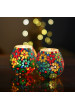 Moroccan Multicolor Flowers Glass Mosaic Candle Holder, Tea Light Holder Votive, Set of 2
