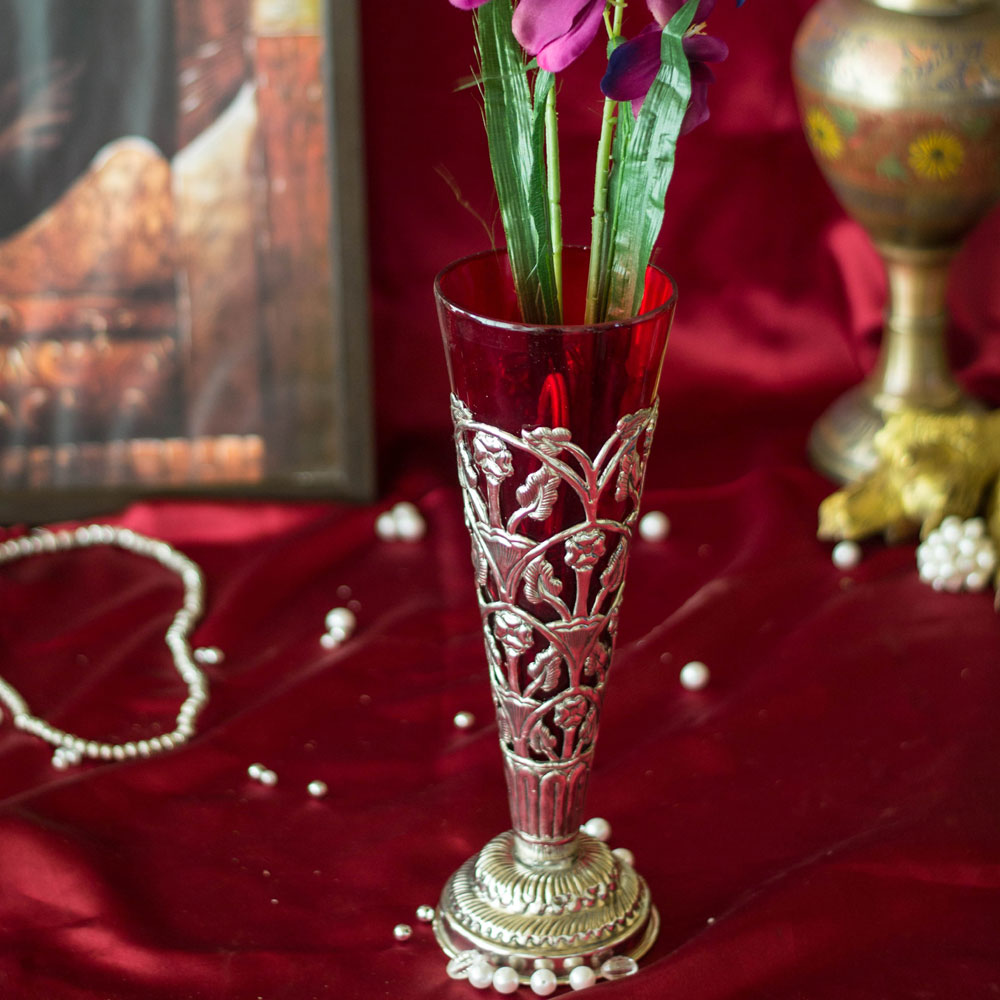 Scarlet Flower Vase with Hand Carving