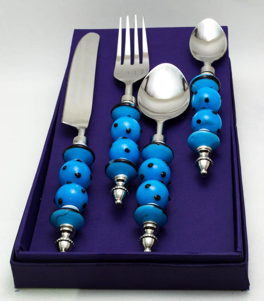 Aqua Glass Bead and Black Polka Dots Cutlery set (16 pcs)