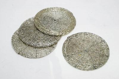 Sparkling Mercury Spiral Bead Coaster