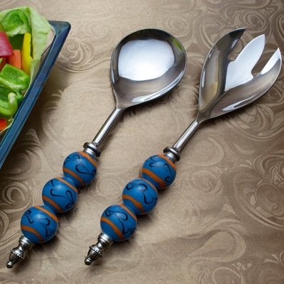 Salad Server Fork and Spoon Set of 2, Stainless Steel with Water-n-Fire Glass Bead Handle