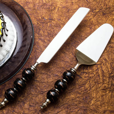 Cake Knife and Pie Server Set of 2, Stainless Steel with Elegant Black-Golden Bead