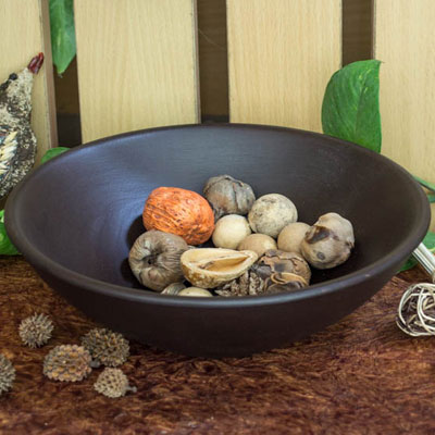 Chocolate Wood Bowl Flat- Small