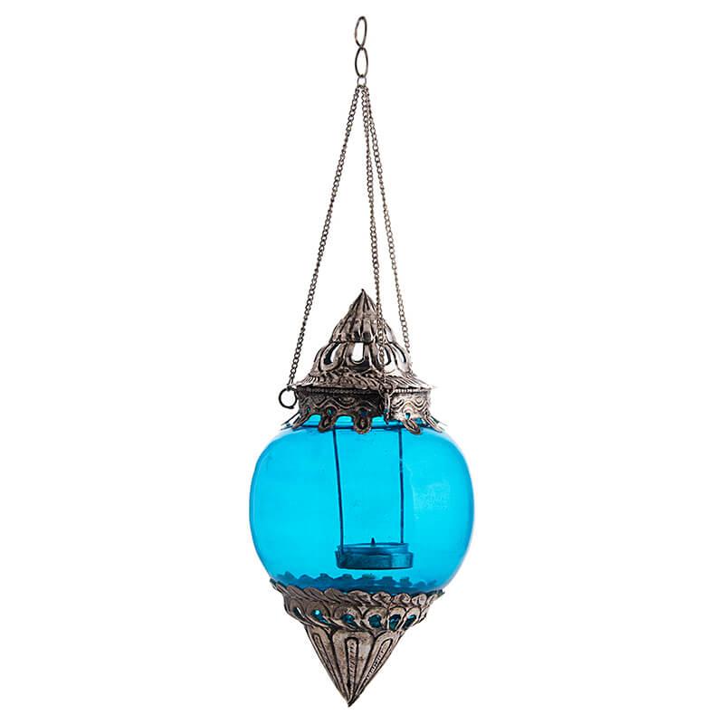 Hanging Brass Turquoise Melon T-Light Holder