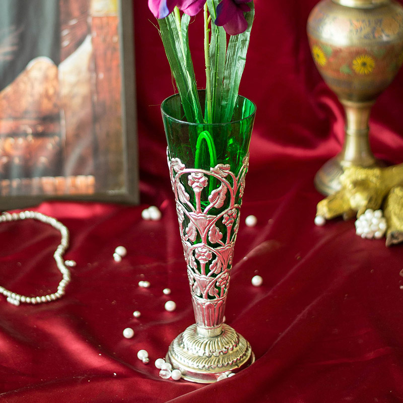Lush Flower Vase with Hand Carving