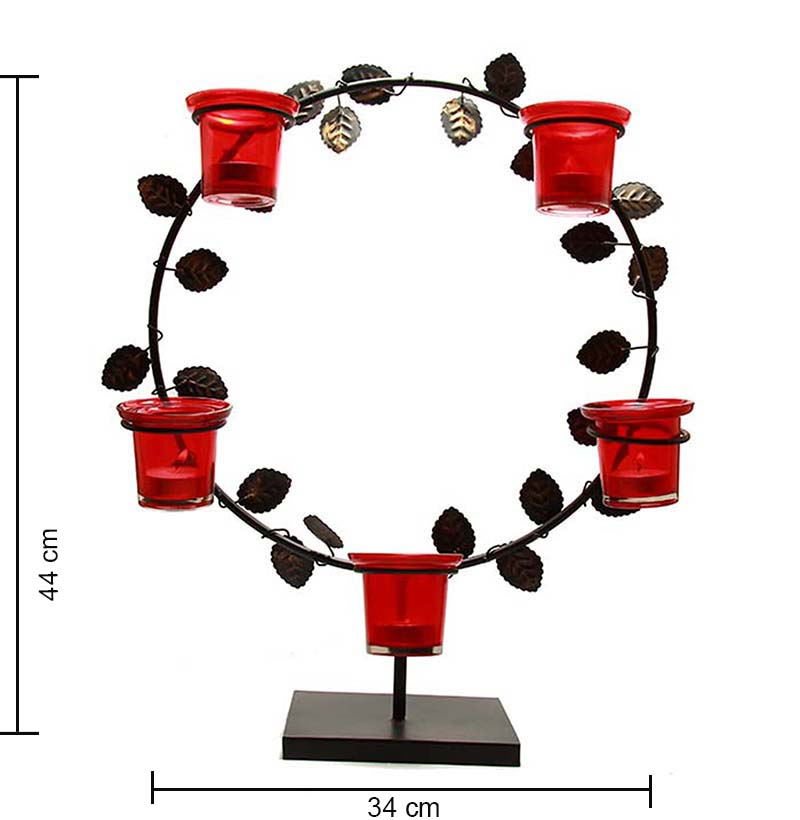 Black Round Stand with Votive,Table Candle Holder with Tea Light,Red
