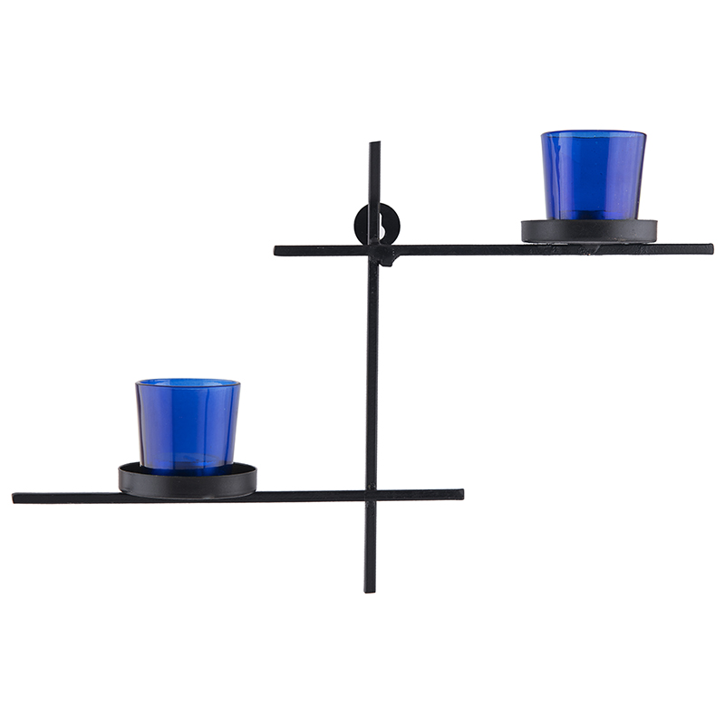 Black Scorching Ladder with Pair of Votive Blue, Wall Hanging Candle Holder