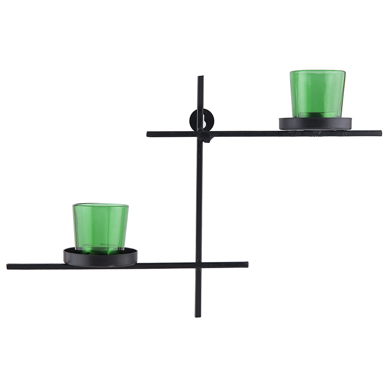 Black Scorching Ladder with Pair of Votive Green, Wall Hanging Candle Holder