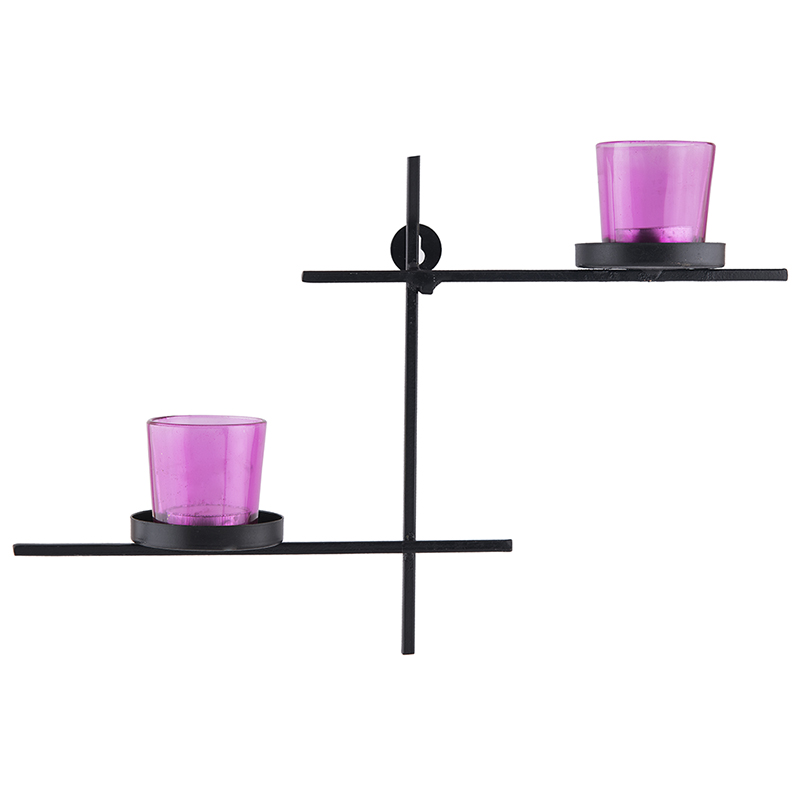 Black Scorching Ladder with Pair of Votive Pink, Wall Hanging Candle Holder