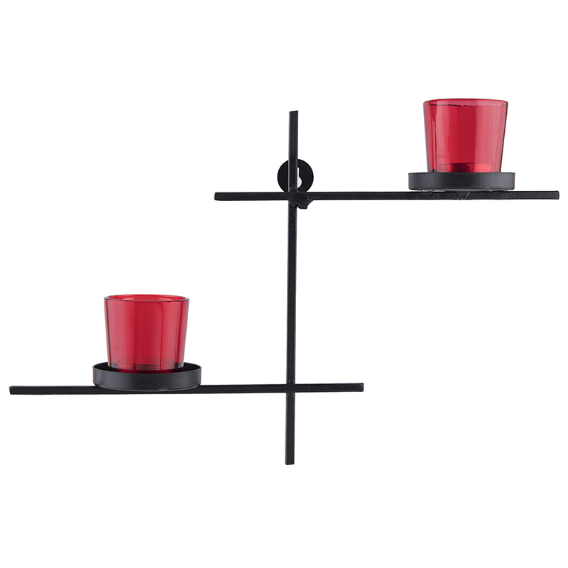 Black Scorching Ladder with Pair of Votive Red, Wall Hanging Candle Holder