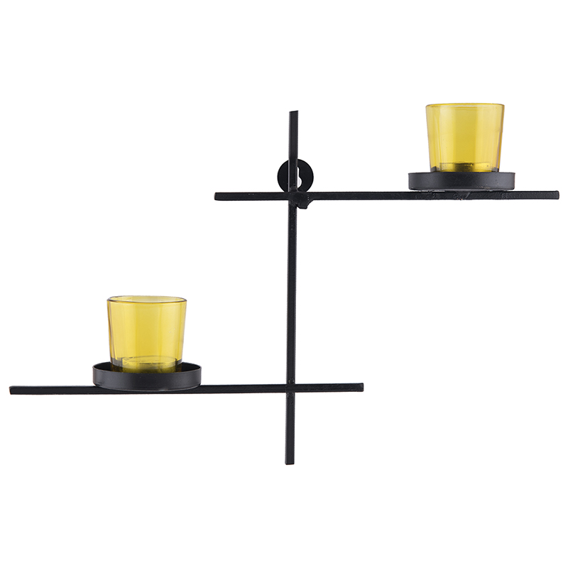 Black Scorching Ladder with Pair of Votive Yellow, Wall Hanging Candle Holder
