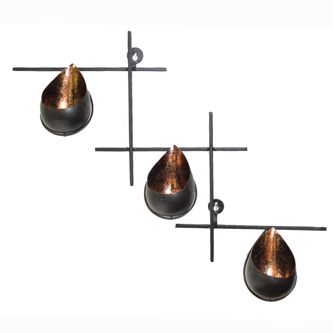 Trio Copper Luster Drops Stand, Wall Hanging Candle Holder